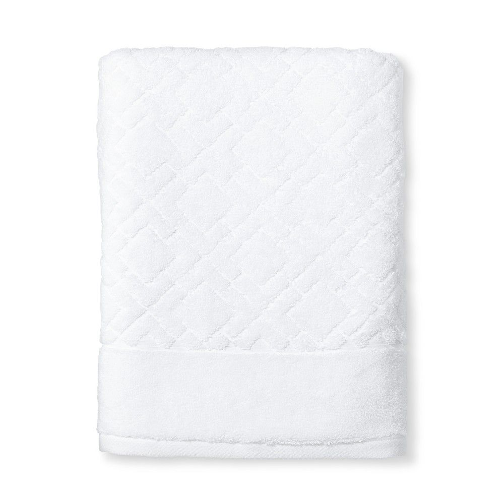 Reserve Solid Textured Solid Bath Towel White Accent Fieldcrest