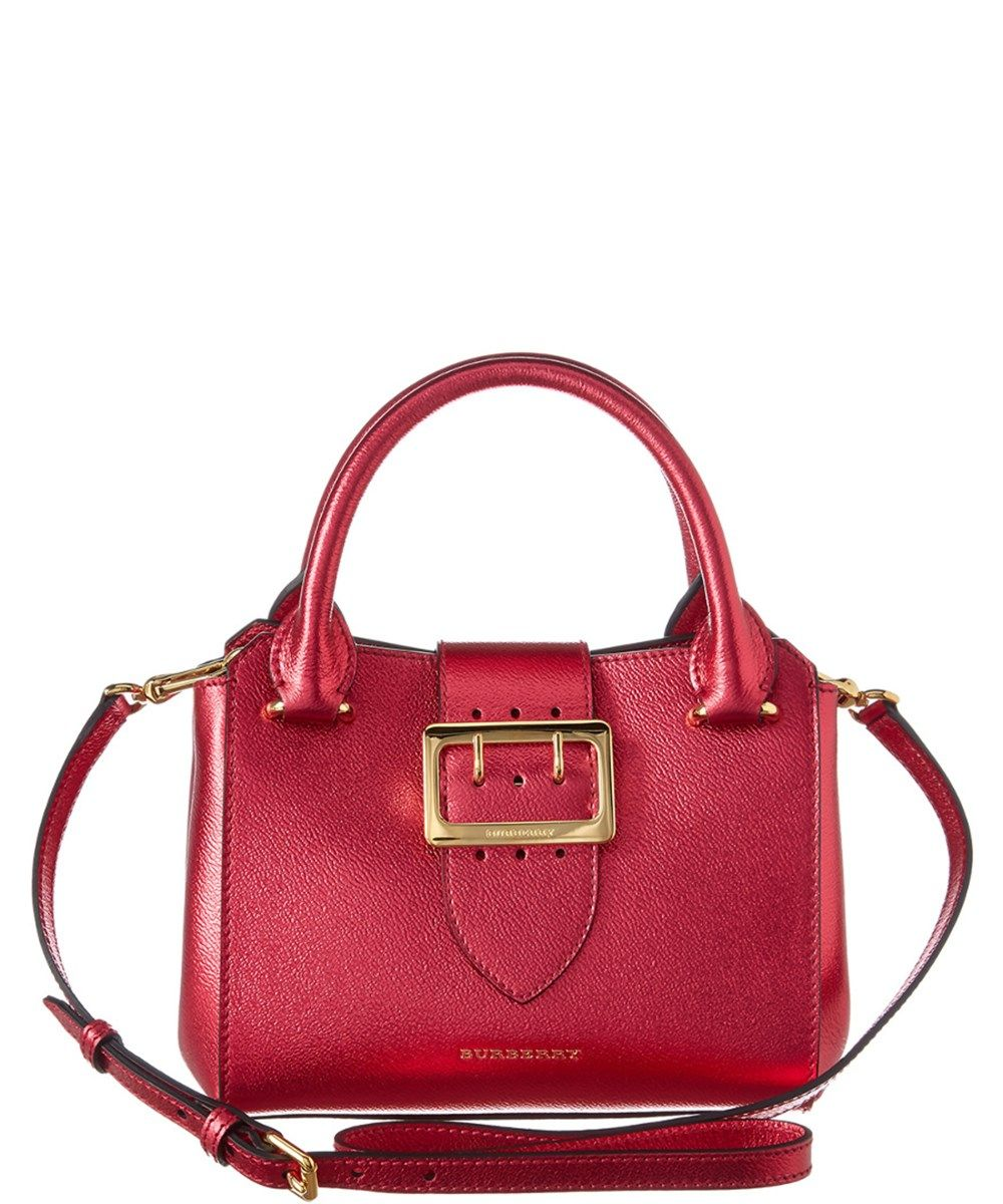 BURBERRY Burberry Small Metallic Leather Buckle Tote .  burberry  bags  tote   leather  lining  metallic  shoulder bags  hand bags   f2c103f59d44b