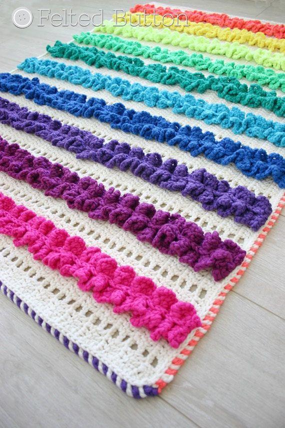 Crochet Pattern, Ruffled Ribbons Blanket, Rug, Afghan, Baby | Manta ...