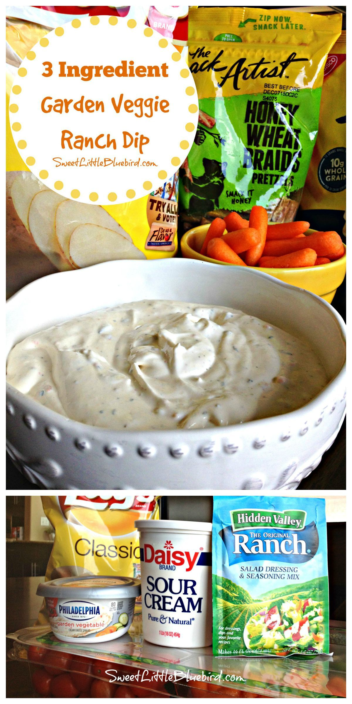 3 Ingredient Garden Veggie Ranch Dip Easy Diy Food Recipes Appetizers Easy Snacks