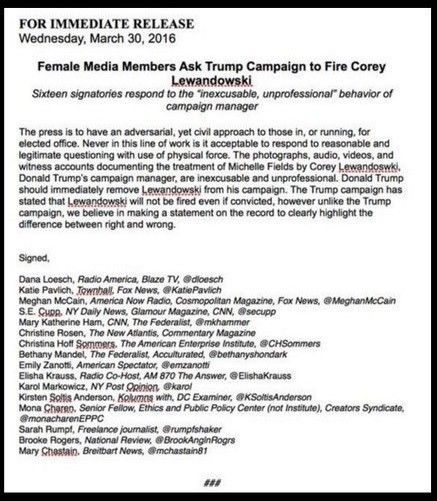 self righteous female supporters write letter demand trump fire lewandowski over assault hoax