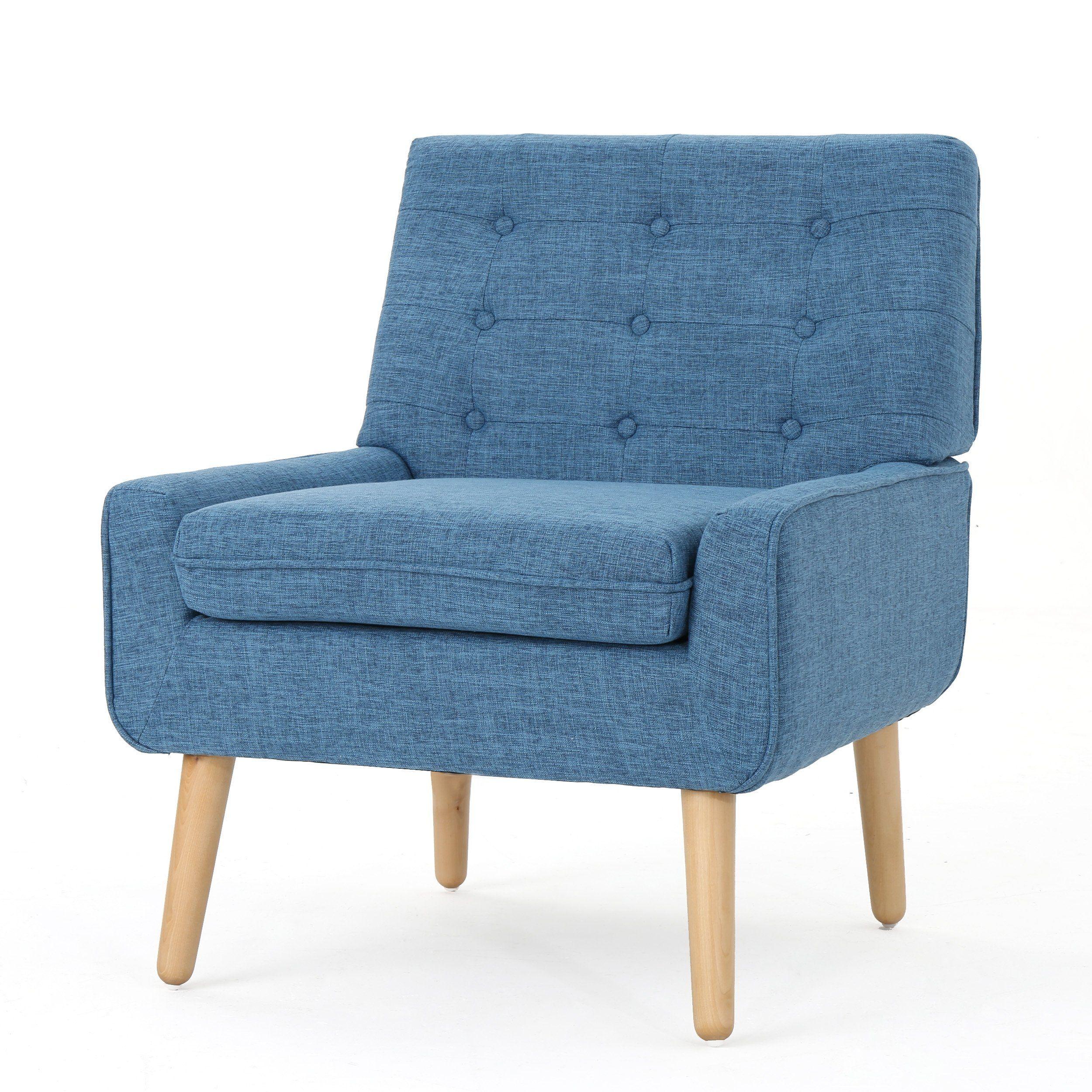 Eonna Buttoned Mid Century Modern Fabric Armchair