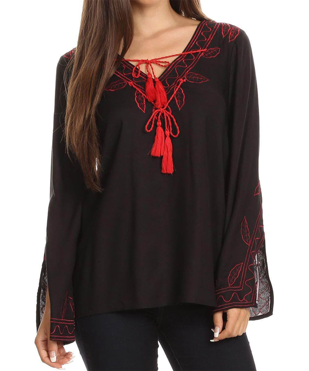 c9e7c0ab Black Leaf Embroidered Tassel Long-Sleeve Top | Products | Sleeves ...