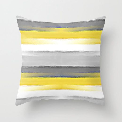 Striped Throw Pillow Cover In Yellow Grey White By Hlbhomedesigns