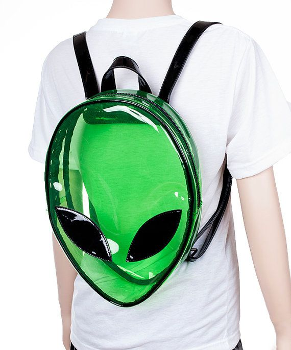 Alien Clear Green PVC Clubkid Backpack by JUNKKYARD on Etsy 155f4e32b3d99