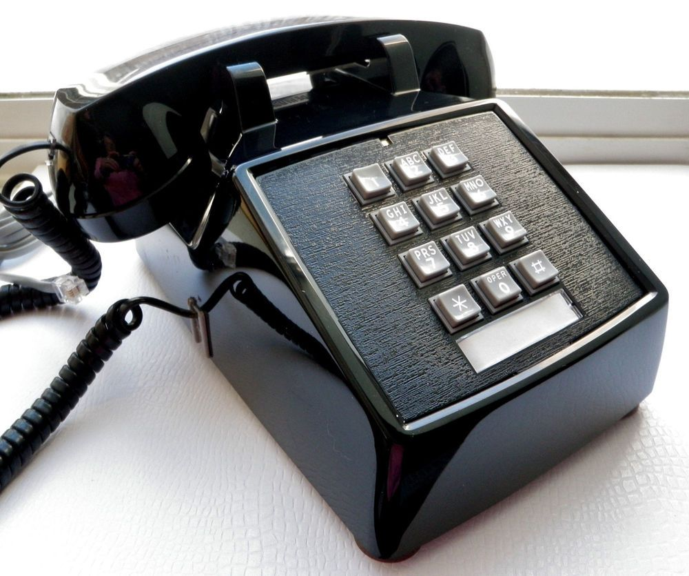 Vintage Telephone Push On Desk Phone Black Corded Retro Office New 1980 Usa Cortelco