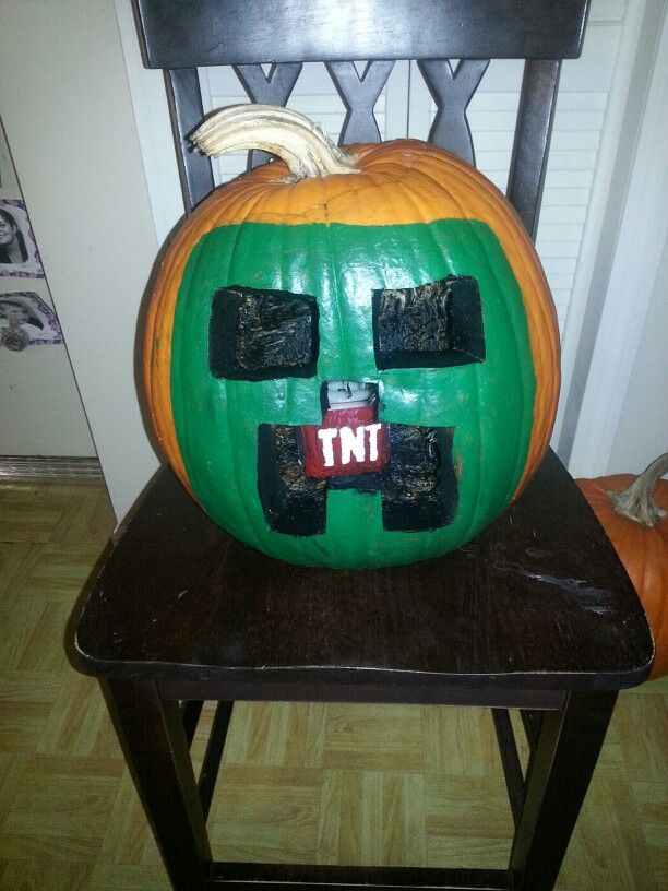Pumpkin Carved As A Minecraft Creeper With Candle Inside Painted TNT