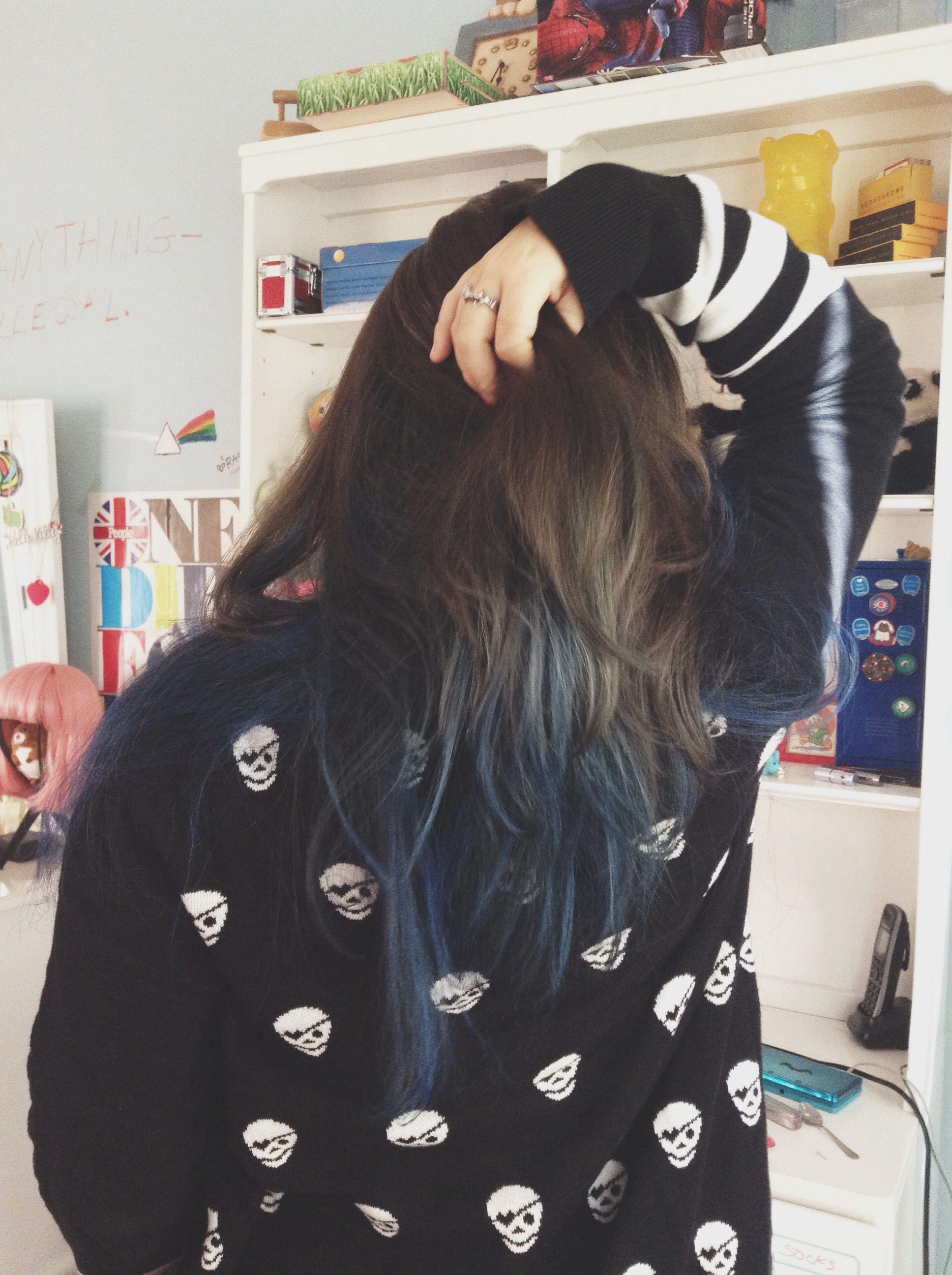 blue ombre dark brown hair soft grunge skulls wet seal ...