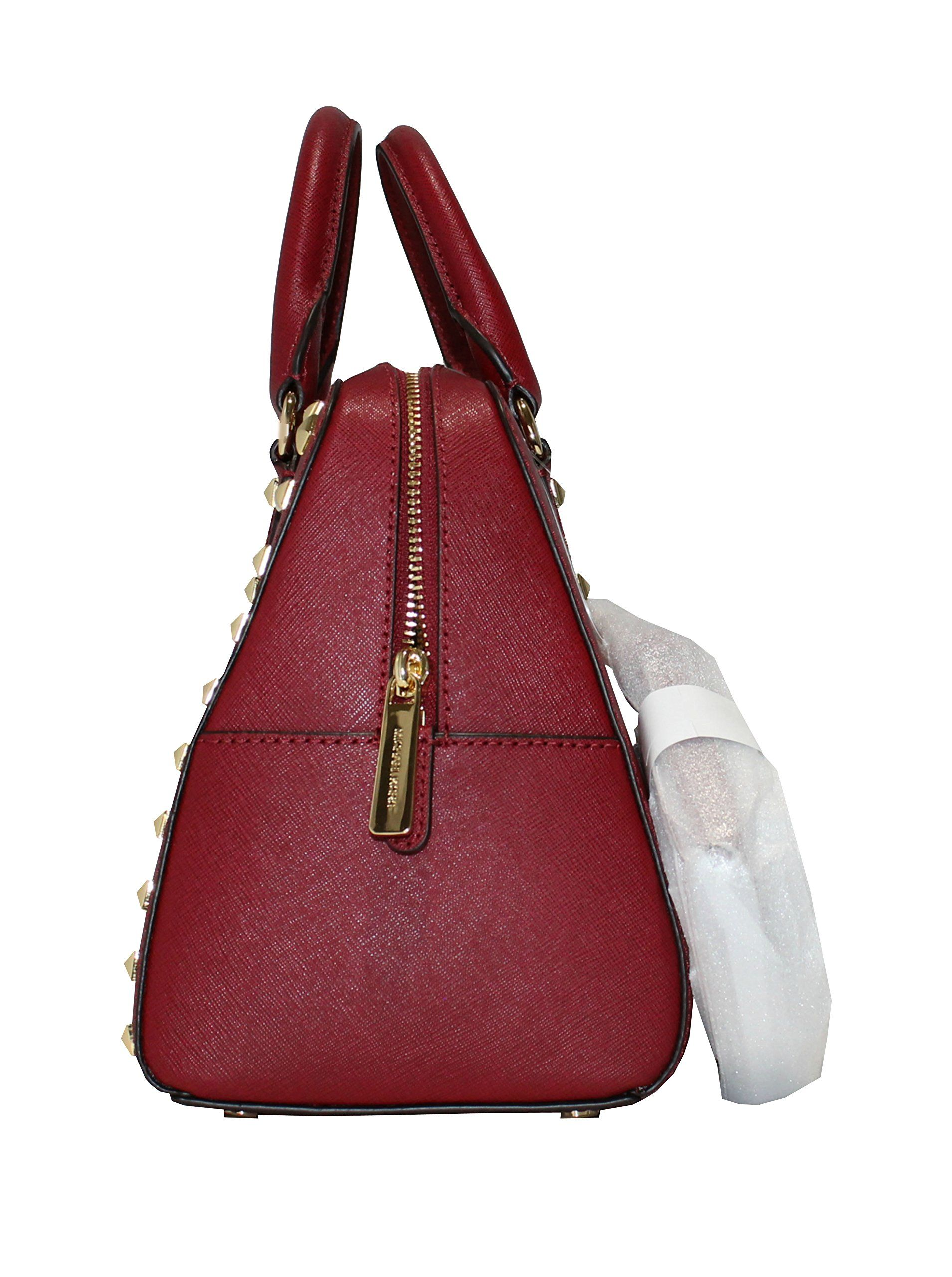 6b521fdbee7b MICHAEL Michael Kors Womens Sandrine Studded Saffiano Leather SMALL Satchel  Handbag Cherry ** Want to know more, click on the image.