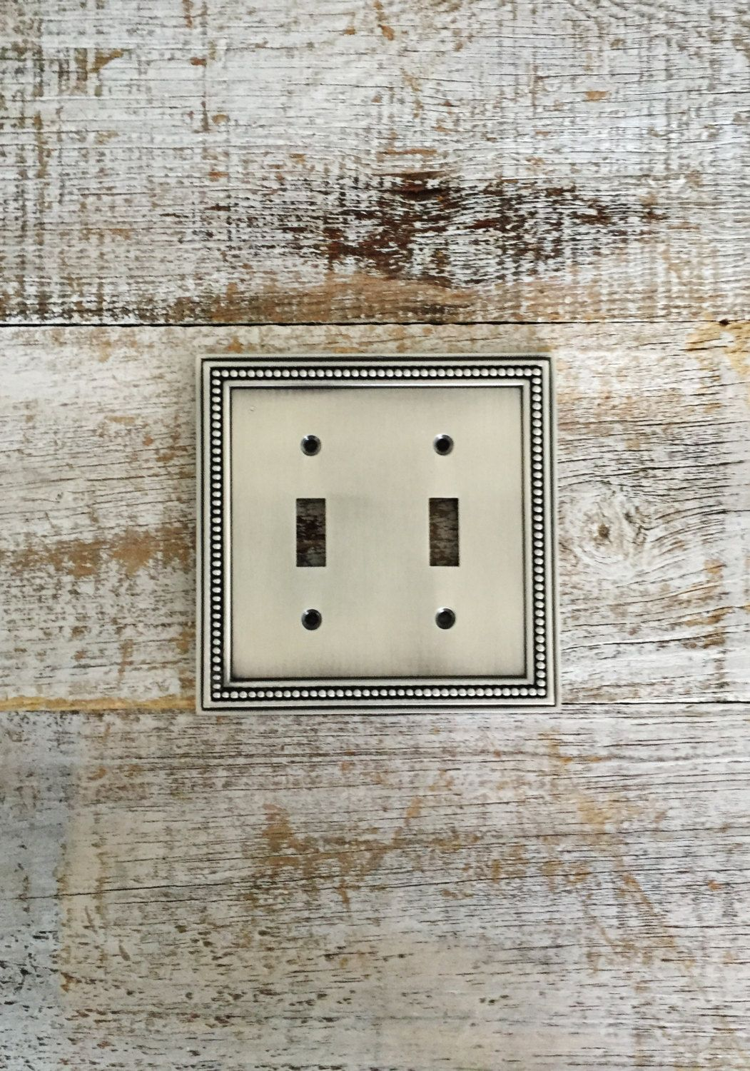 Silver Light Switch Covers Light Switch Cover Double Lightswitch Plate Mid Century Decor