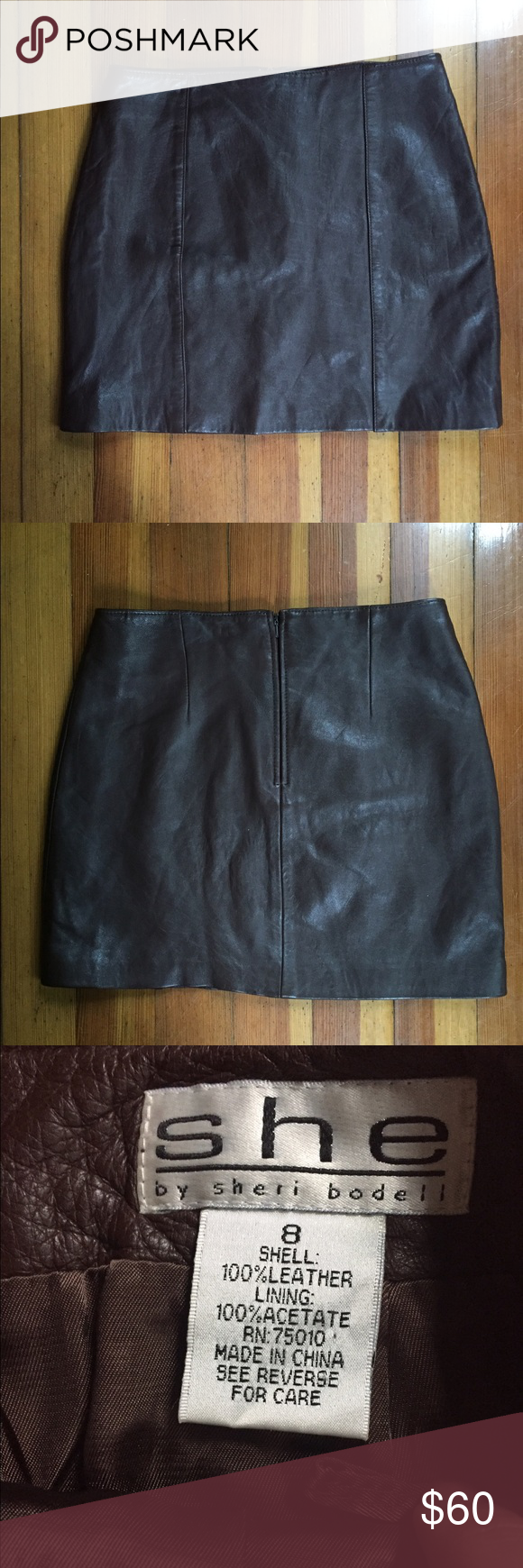 """✨Dropped Today Only✨ Sheri Bodell Leather Skirt Great vintage piece of SHE by Sheri Bodell. 100% genuine leather mini skirt in a lovely deep brown. Color best reflected in cover photo (all items in this outfit are for sale 🤗). Size 8 but please refer to measurements! Laying flat: waist 13.5, hips 18"""", length 15"""". Offers welcome. Bundle up for 20% for 2+ items. 🌰. Sheri Bodell Skirts Mini"""