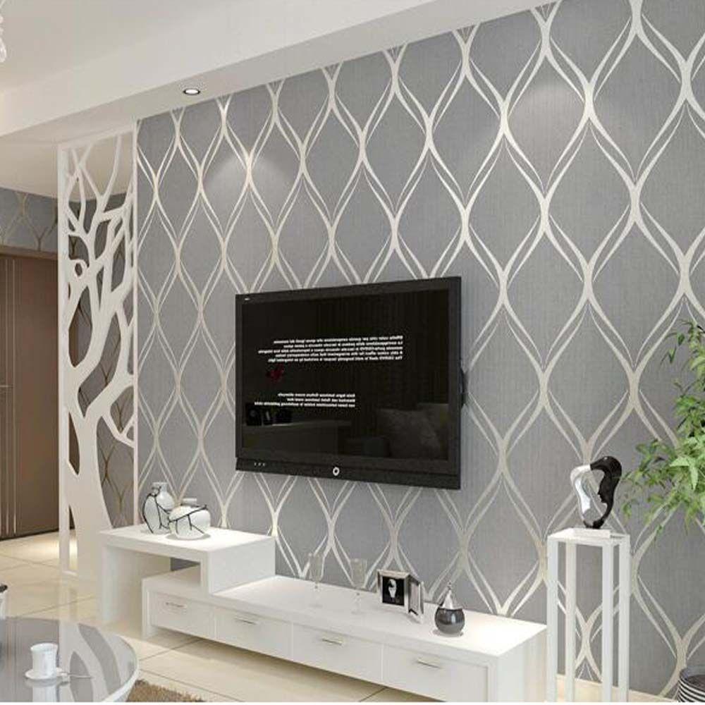 Grey Textured Wallpaper Living Room