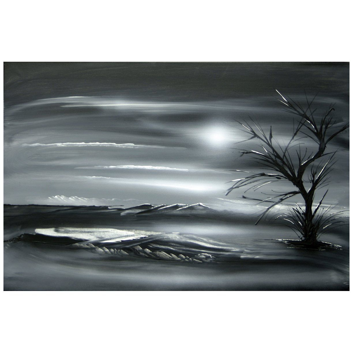 Original modern landscape black white painting dapore for White canvas painting