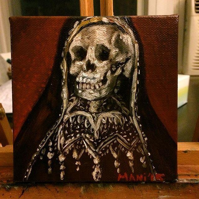 Nuestra Señora de la Santa Muerte 5x5 oil painting for sale. #holydeath #lasantamuerte #santamuerte #oilpainting #artistsoninstagram #everynightartdorks #skulls
