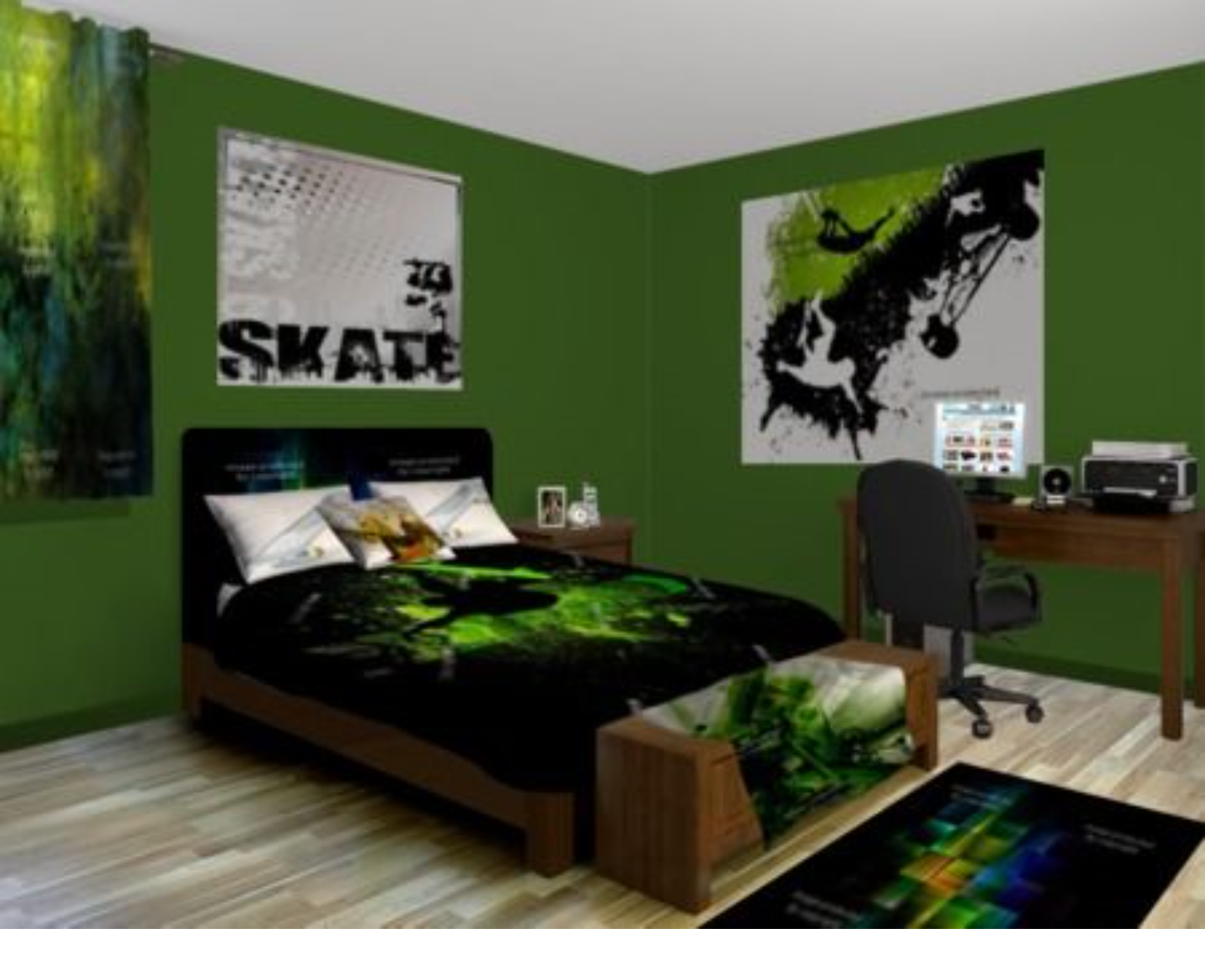 Skater Room For A Boy I Love The Green And Black Light Floor Compliments Dark Walls Decor