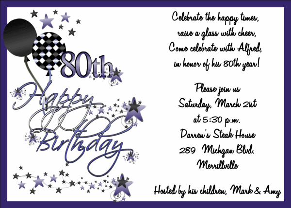 90th Birthday Invitation Wording Samples 80th Birthday