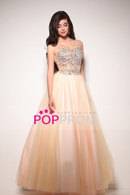2015 Open Back Bateau A Line Prom Dresses Tulle With ...