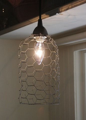 More Chicken Wire Ideas Great For My Chicken Coop Or Farm Chix Look Diy Pendant Light Wire Pendant Light Chicken Wire