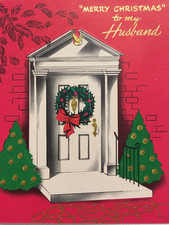 Vintage Christmas Card Husband Wreath Gold By Papermoonandmore