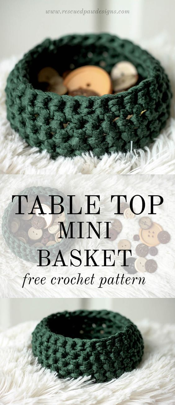 Table Top Mini Basket | Ideas artesanales, Bolsos de ganchillo y ...