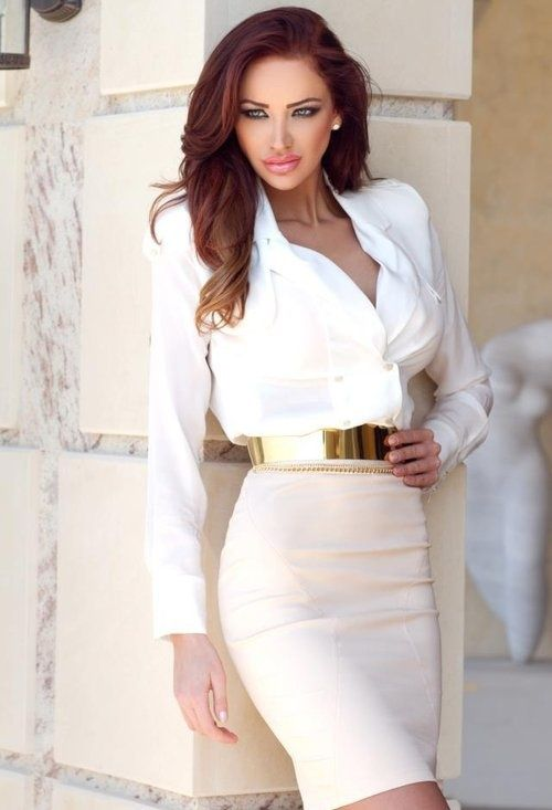 short pencil skirt   white blouse accented w/gold mirrored belt ...