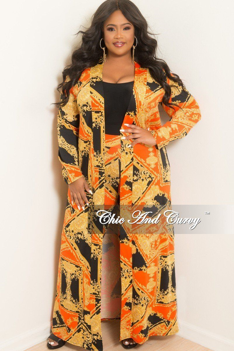6a002ac48db Plus Size 2-Piece Duster and Pants Set in Red Black and Gold Print – Chic  And Curvy