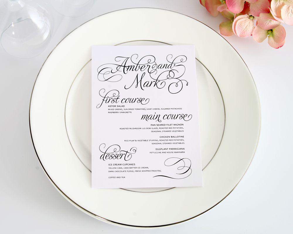 Charming Script 5�7 Wedding Menus - Wedding Menus by Shine