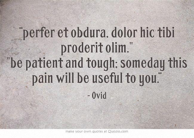 Perfer Et Obdura Dolor Hic Tibi Proderit Olim Be Patient And Tough