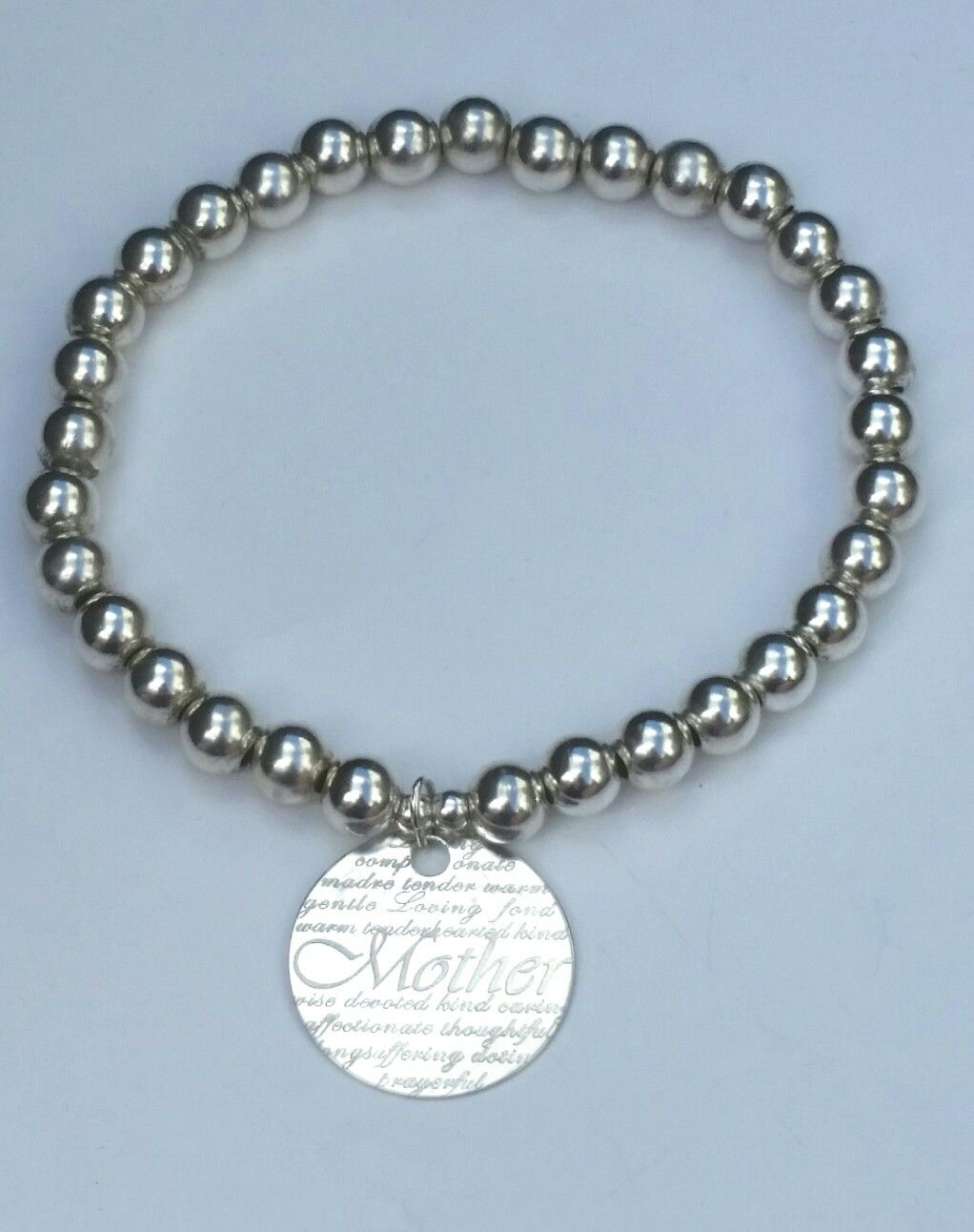 """Chunky Sterling silver Stretch Bracelet with """"Mother"""" Charm.  £30. Www.facebook.com/gardenforgejewellery"""