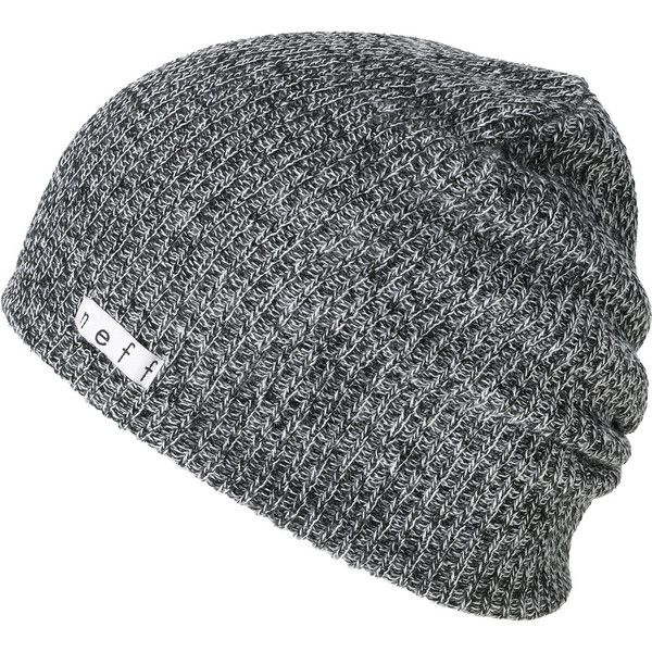 Neff Daily Heather Black White Beanie (25 CAD) ❤ liked on Polyvore featuring accessories, hats, beanies, hair, long slouch beanie, slouchy beanie, slouchy beanie hat, long beanie and black and white beanie