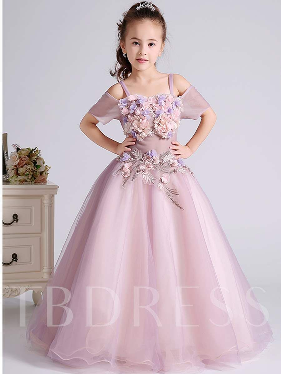 ecf9385f7 3D Flowers Off the Shoulder Spaghetti Straps Flower Girl Dress | 02 ...