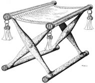 Reconstruction of a bronze age folding chair from various  various discoveries from denmark