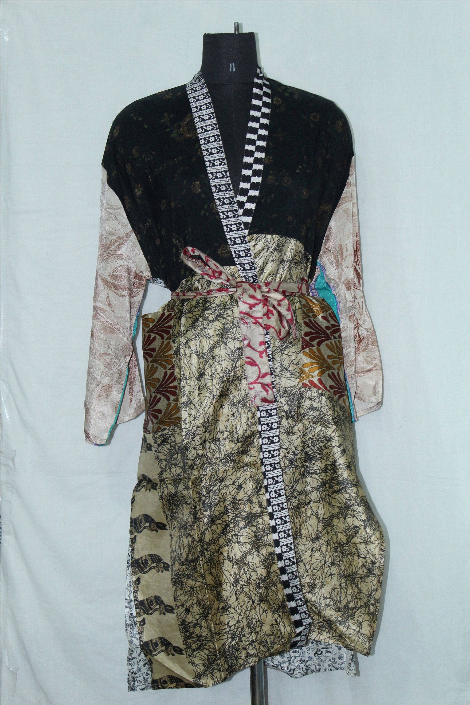 Pure Cotton Kimono Kaftan Saree Sari Satin Night Robe Long Cover Indian best