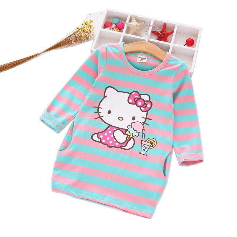 2016 Autumn Girls Dress Hello Kitty Cartoon Kids Dresses For Girl ...