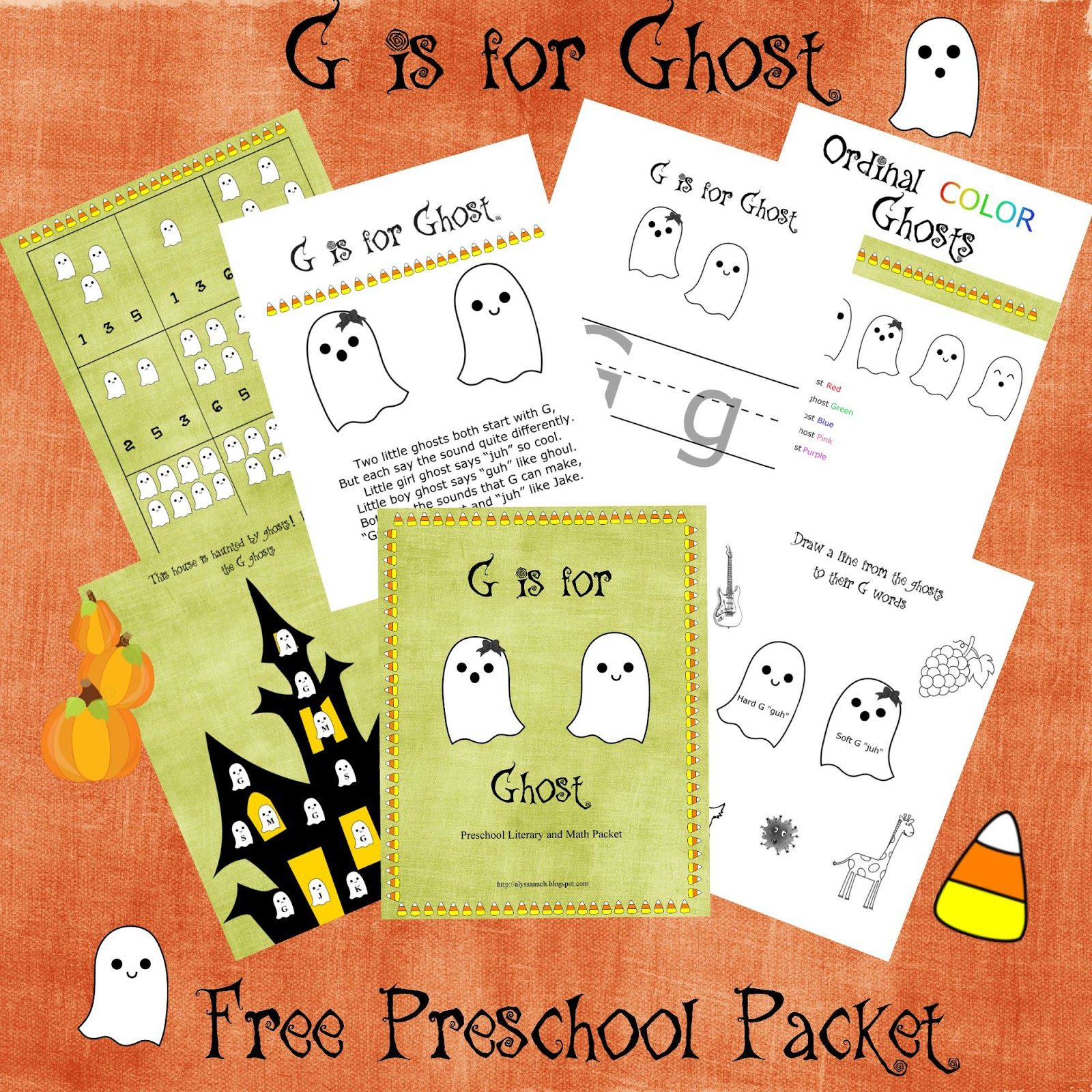 G Is For Ghost Free Preschool Literary And Math Packet