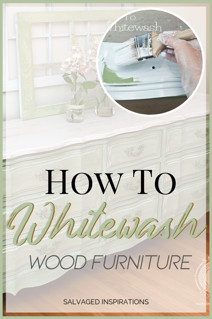How to White Wash Wood Furniture   Shabby Chic French Provincial Dresser Makeover   Salvaged Inspirations #siblog #salvaged #furnituremakeover #refurbishedfurniture #paintinginspo #salvagedinspirations #furniturerescue #vintage #DIY