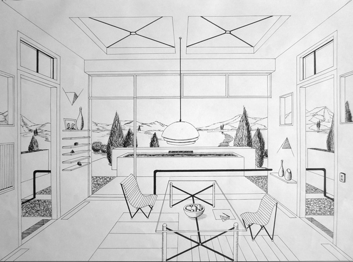 One point perspective living room drawing - Incredible One Point Perspective Room 1200 X 891 441 Kb Jpeg