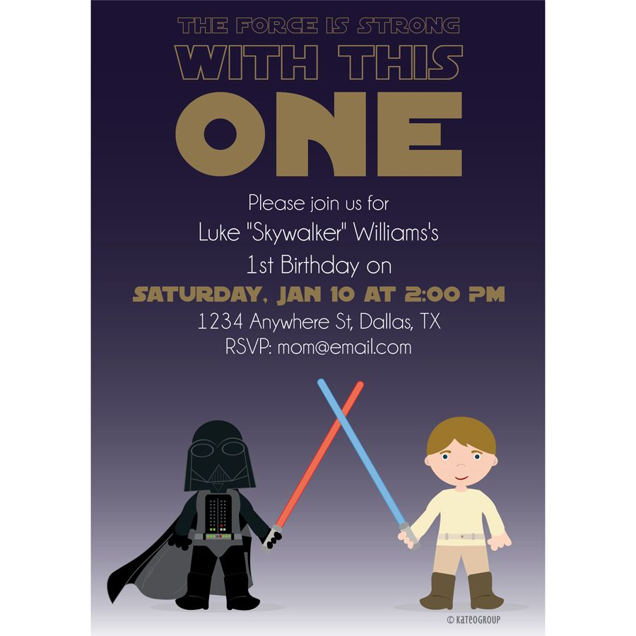 Star Wars Birthday Party Ideas First 1st Birthday Invitation