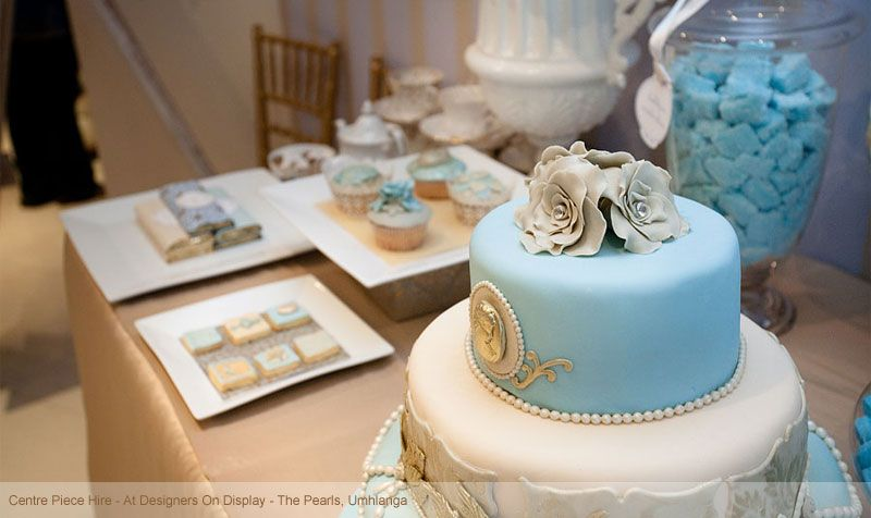 blue and white dessert display