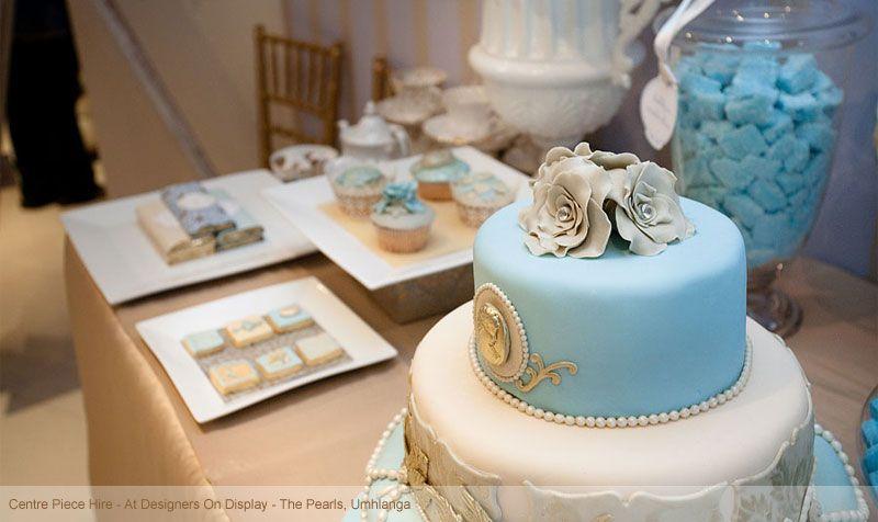 blue and white dessert display