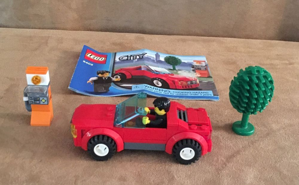 8402 Lego City Traffic Sports Car Complete Instructions Minifig Red