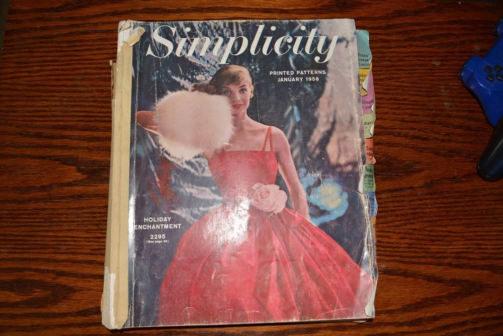 """Simplicity Pattern Book January 1958 very rare enormous book 13.5""""x12""""x1.75"""" thick ~900 pages Overall good.signs of use.The stapled binding firm &good condition, wear cover, afew tears on the interior sld 50+5 1bd 8/1/16"""