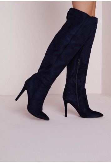 29cf458cae0b Kate Faux Suede Knee High Heeled Boots Navy - Shoes - Missguided ...