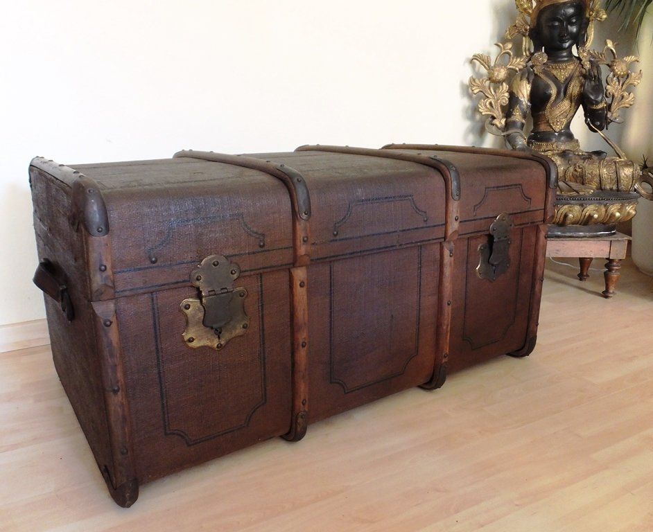Old Overseas Suitcase Travel Case Truer Wood Crate Theater Prop