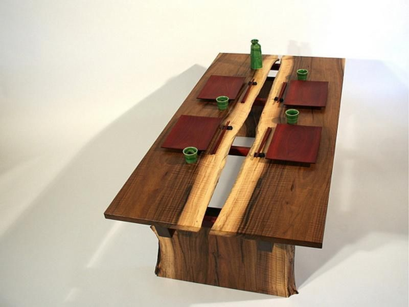 Using The Natural Colour Change From The Different Pars Of The Tree Wooden Japanese Dining