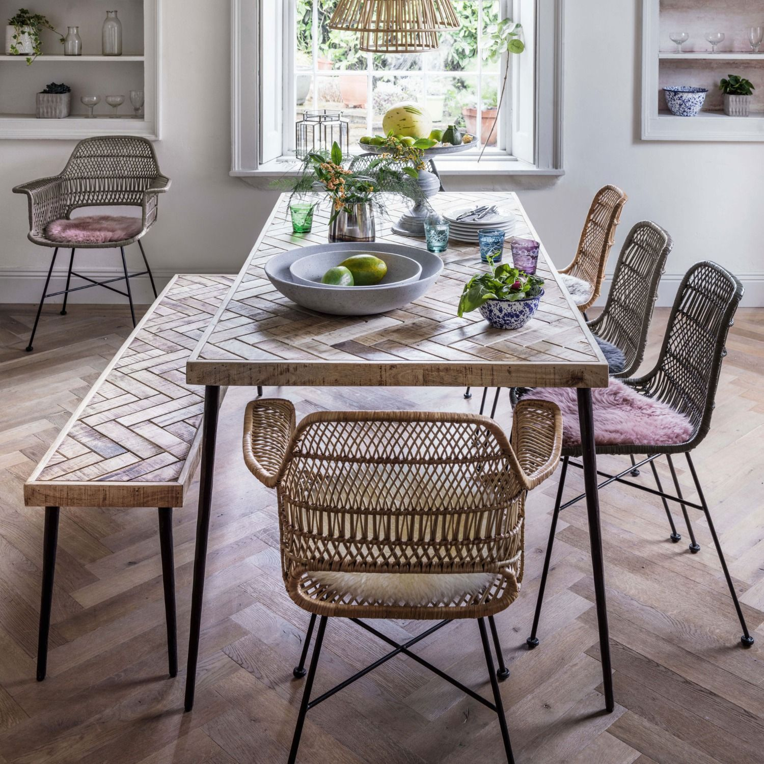 Amaliah Chevron Dining Table In 2020 Dining Table With Bench