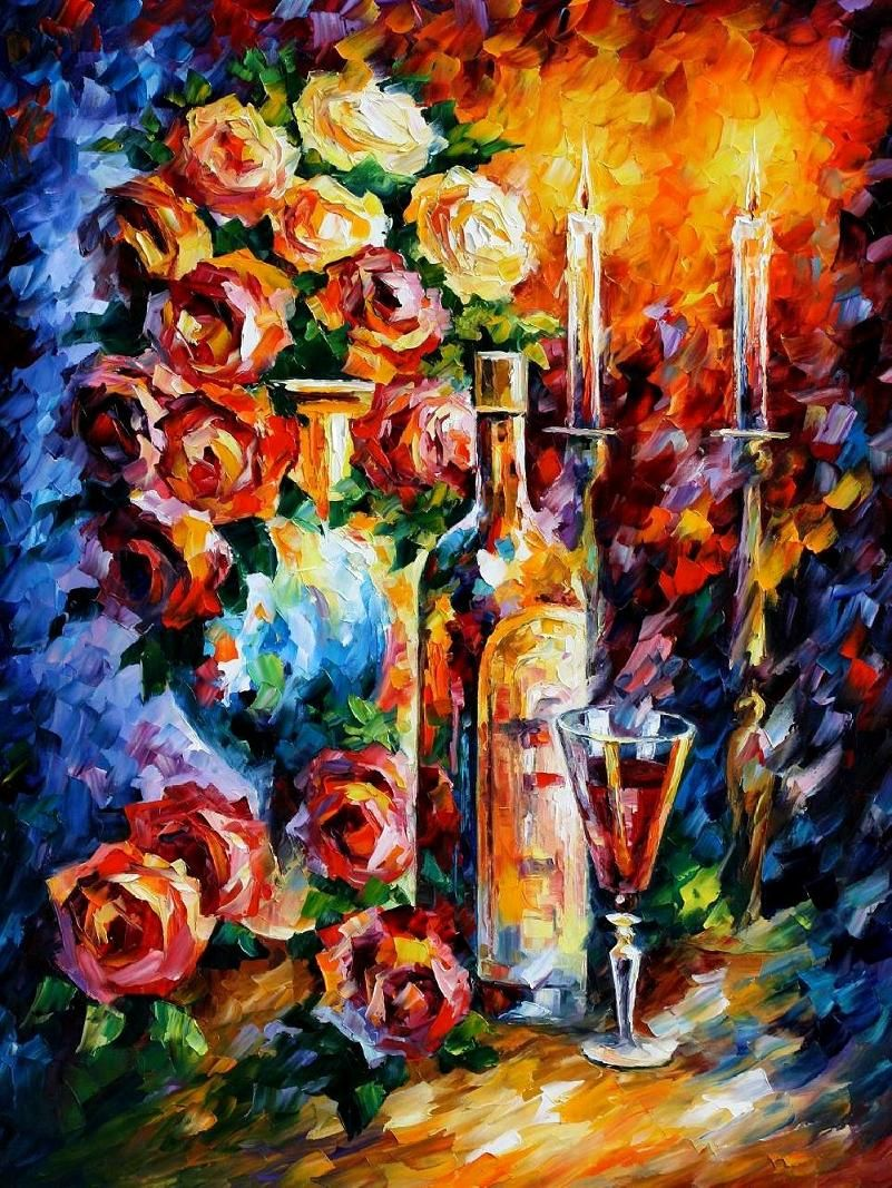 Hand Painted Modern Art Canvas With A Wonderful Rose And Wine Palette By Famous Artist Leonid Afremov Browse The Online Gallery For Other Still Life
