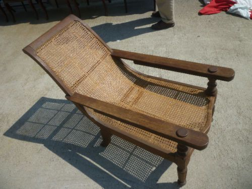 Antique Planters Reclining Chair Chaise Teak and Cane Plantation  @josecuervo888 can we pprint this? - Antique Planters Reclining Chair Chaise Teak And Cane Plantation
