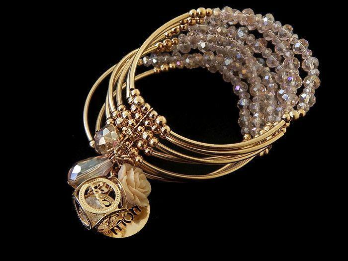 393803eb185d B7LOCO2015 -09 Hermoso Brazalete 7 lineas en chapa de oro 14k y cristal  checo AAA