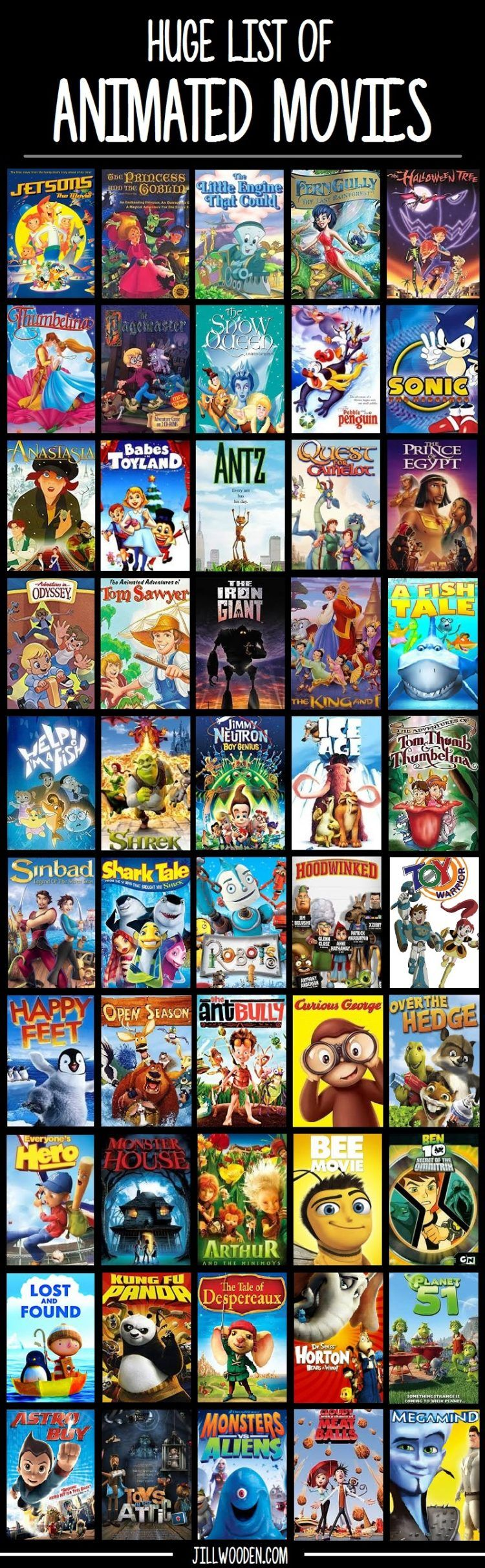 Movies to watch with your kids. 100 NonDisney Animated